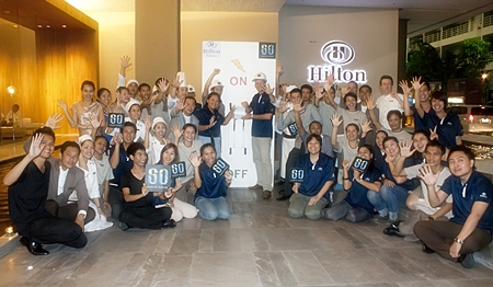 Harald Feurstein, GM of the Hilton Pattaya marked the hotel's second annual participation in Earth Hour, making it one of the many international hotel chains in Pattaya to make a global statement with a voluntary hour of darkness. The staff and management team all joined together for a memorable and fun experience to switch off the lights of the hotel. Activities included turning off exterior signage lighting; dimming non-essential interior lighting; using candlelight in appropriate public areas such as restaurants and bars, switching off equipment in all offices and some areas in the kitchen.