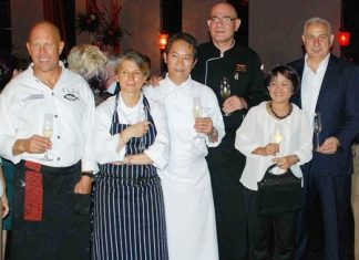 (L to R) Steven Snow, Maria Elia, Chan Kam Yuen, Kai-Uwe Klens, Miss Sarantorn Srinoi, CEO of Sri Siam Wines, and Peter Papanikitas, CEO of Stonefish.