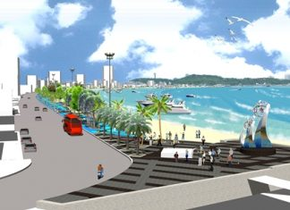 An artist's rendering of the improved landscaping and increased traffic lanes on Pattaya Beach Road to begin in 2012.