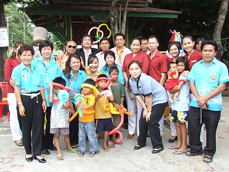 Local officials and benevolent citizens make merit at the Baan Phra Khun Child Development Center.