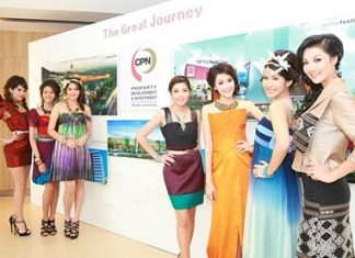 Models stand next to a billboard showing CPN's new retail development projects for 2012-13.