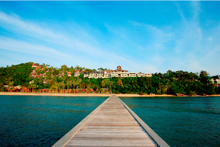 InterContinental Samui Baan Taling Ngam Resort viewed from the private pier.