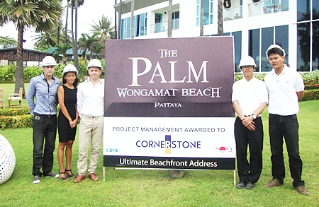 From left: The Palm developers Winston Gale, Sukanya Gale and Simon Swain meet with Cornerstone's Surakit Somnustweechai (Project Manager) and Khun Songpon Monsree (Site Engineer).