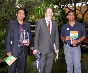 British GM, Nigel Short, centre, the Bangkok Open Champion 2012, stands alongside India's M.R. Venkatesh and Neelotpal Das at the conclusion of the tournament.