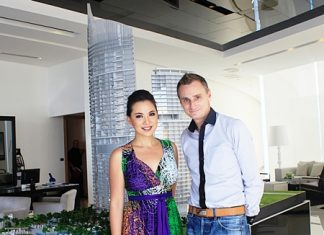 Pannada Wongphudee (Boom), left, and Jason Payne, Vice President of Tulip Group, right, pose for a photo at the Centara Grand Residence show suites in Na Jomtien, Tuesday, May 22.
