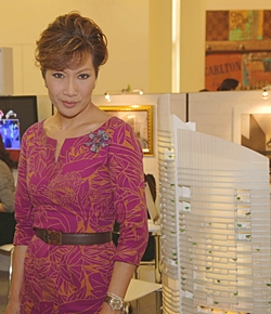 Thailand TV celebrity Dr Krittika Kongsompong visits the Tulip Group's Centara Grand Residence booth at the Siam Paragon Luxury Property Showcase which took place in Bangkok from May 10 - 20.