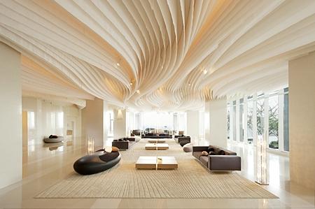 The distinctive lobby of the Hilton Pattaya hotel.