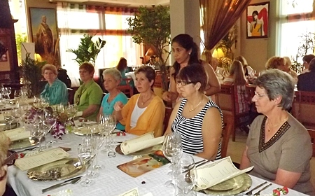After a strenuous day, the Rotary spouses sit down to an exotic meal at Indian by Nature.