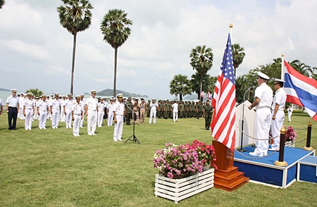 Rear Adm. Paithoon Prasopsin, commander of the Royal Thai Navy's Frigate Squadron 2, and Rear Adm. Thomas F. Carney, commander of the U.S. Logistics Group for the Western Pacific address the troops at the beginning of the exercises.