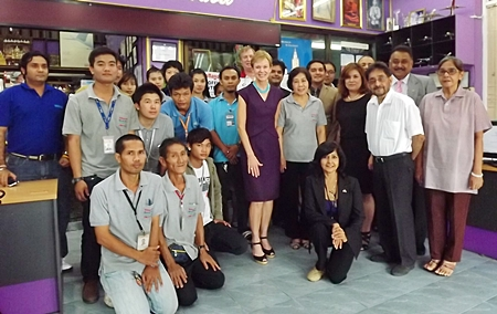 HE Kristie Kenney, U.S. Ambassador to Thailand is welcomed to the Pattaya Mail offices by nearly the entire team.
