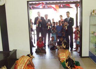 Ambassador Peterlik (right), Consul Rudolf Hofer (middle) and Stephan Heisler (left) enjoying watching the children dance.