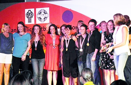 Thailand ladies receive the Plate trophy and their medals at the presentation held at the Hard Rock Hotel, Pattaya.