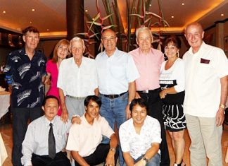 Tony Portman (centre), a well-known Pattaya medium celebrated his 71st birthday with close friends at Alois Restaurant recently. Guests at the birthday party included Alasdair Stewart, Gill Stewart, Archie Dunlop, Peter Close, Elfi Seitz and Alex McIntyer. (front row l-r) Vichai Pryatrakulruji, Nak Sideang and Rin Permboong.
