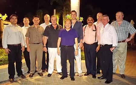 "The ""notorious"" GM Gang poses for a commemorative photo. (l-r) Tony Malhotra (Pattaya Mail), Michael Muszumanski (GM Pinnacle Koh Tao), Nijjaporn Marprasert (GM Siam Bayview Hotel), Phillipe Delaloye (GM Cape Dara), Rene Pisters (Thai Garden Resort), Chatchawal Supachayanont (GM Dusit Thai Hotel), Clinton Lovell (GM Pullman Pattaya Hotel G), Peter Malhotra (Pattaya Mail), Holger Kroninger (RM Siam Bayshore), Hans Banziger and Nicolas LeRat."