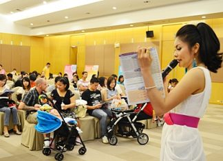About 50 families are given tips on how to instill good behavior in their young children.