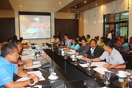 Representatives from various agencies in Pattaya meet in conference room 231 at City Hall.