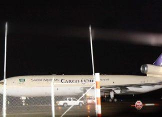 A Saudi Arabian cargo plane, one of 10 flights diverted to U-Tapao, sits on the tarmac waiting clearance to return to Suvarnabhumi.