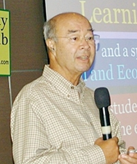 Mechai Viravaidya, founder of the Population Development Association, addresses Pattaya City Expats Club about the PDAs' latest ventures; the Bamboo School in Buriram, and the extension of the Bamboo School, the Mechai Pattana School for grade 10 students, here in Pattaya.