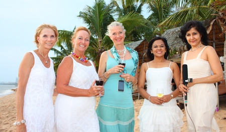 (L to R) Judy, Rosanne, Leila, Chitra and Sue look fabulous in their evening beach wear.