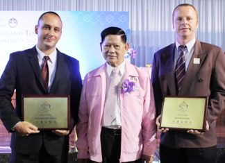 (L to R): Jason Villarino, executive assistant manager, Siam Bayview Hotel, Pattaya; Chumpol Silapa-archa, deputy prime minister of tourism & sports and Holger Groninger, resident manager, Siam Bayshore Resort & Spa, Pattaya.