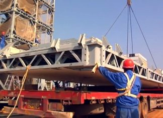 Workers help to construct the energy efficient and prefabricated 30-storey Ark Hotel in Hunan province, China in a record 15 days. (Photo/Youtube)