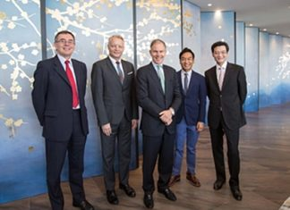 (From left to right) Gordon Ongley, Chief Operating Officer (Hong Kong) of Swire Properties; Glenn Pushelberg, founder of Yabu Pushelberg; Martin Cubbon, Chief Executive of Swire Properties; George Yabu, founder of Yabu Pushelberg; and Adrian To, General Manager, Residential of Swire Properties, pose for a photo at the opening of the Opus show apartment in May 2012.