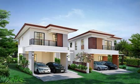 An artist's impression of typical houses at the Ban Fa Greenery project.