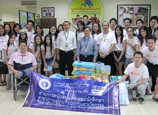 Prof. Dr. Thonapol Veerasa (centre right) along with 25 graduate students majoring in Corporate Entrepreneurship and Innovation at the Management School of Mahidol University, visit the Father Ray Foundation where they donated 10,000 baht in cash along with other amenities for use by the children. On hand to receive them were Father Pattarapong Srivorakul (centre left), president of the foundation, Father Dr. Picharn Jaiseri (centre), vice president of foundation and Suporntum Mongkolsawadi (front left), principal of the Redemptorist Vocational College for the Disabled.