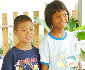 Two kids at Khun Ja's Children Protection and Development Life Skill Center (CPLC), which is also known as the Anti-Human Trafficking and Child Abuse Center (ATCC).