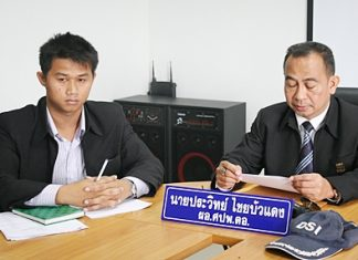 Khomsan Wetchpan, head of the Pattaya Volunteer Civic Club, files a complaint with Prawit Chaibuadaeng, Department of Special Investigations Eastern Region director.