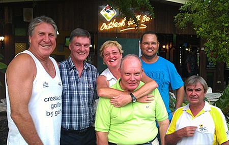 Rosco & Peter, left, with Suzi, Bob Lindborg, Barnsey and Jack, the overall winner, relax after Monday's round at Burapha.