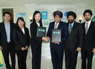 Surjeet Singh Chawala, Director of Blue Sky Group (4th from left) and Jaree Wuthisanti, Krung Thai Bank Senior Executive Vice President Corporate Banking Group 1 (3rd from left) shake hands on the 1,150 MB loan agreement to support Grande Caribbean Condo Resort Pattaya.
