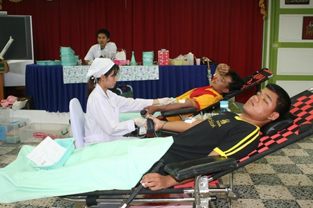 Many people at the event donate blood for charity.