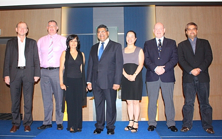 Line up of the sponsors of the special farewell dinner (l-r) Simon Landy, C.I.T. Property Consultants, Joe Cox, Defense International Security Services, Sue Kukarja, PMTV Director, Pattaya Mail Media Group, HE Asif Ahmad, British Ambassador, Isaraporn Kongchana, Finnair Plc, Graham Macdonald, MBMG International and Tony Malhotra, Pattaya Mail Media Group.