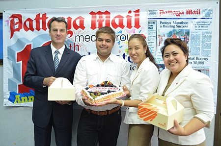(L to R) Amari Orchid Pattaya Resident Manager Richard Margo, Tony Malhotra (deputy MD of Pattaya Mail Publishing Co. Ltd.), Amari Executive Assistant Manager Latiporn Tongkihunna and Public Relations Manager Pichchaya Nitikarn.