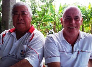 Herbie Ishinaga, left, with Richard Hall.