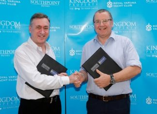 Nigel Cornick, left, CEO of Kingdom Property, shakes hands with Royal Varuna Yacht Club Commodore Simon Makinson, right, to cement the new sponsorship agreement.