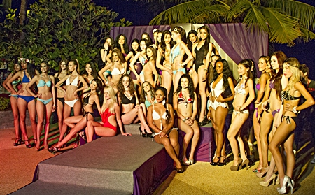 The long legged contestants pose for a group photo at Sea Sand Sun Resort and Spa.