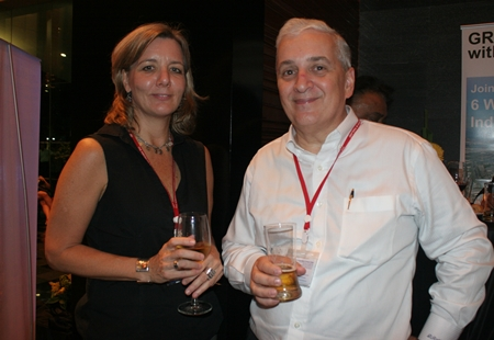 Judy Benn (Executive Director of AmCham) and David R. Nardone (president & CEO of Hemaraj Land and Development PCL) take a little respite from the rat race.