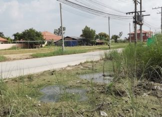 Collapsing land, broken water pipes, and the rainy season have combined to cause misery for residents of Fah Mi Aad Kan Village.