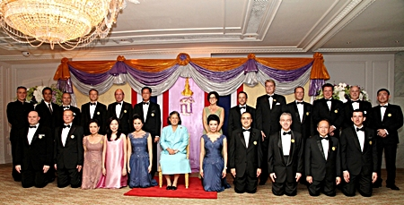 HRH Princess Maha Chakri Sirindhorn presided over the Bangkok Chefs Charity and Gala Dinner 2012 held at the Royal Ballroom of the Mandarin Oriental, Bangkok recently. Proceeds of the dinner are designated to help the Border Patrol Police schools under Her Royal Patronage as well as for the underprivileged school children in northern Thailand.  General managers and executive chefs from twenty-one of Thailand's most prestigious hotels and Thai Airways International were selected to prepare a grand feast for the charitable cause. Two Dusit International hotels were among the participants - Dusit Thani Bangkok and Dusit Thani Pattaya, the latter whose general manager Chatchawal Supachayanont (front row 2nd right) attended with the hotel's executive chef Adrian W. O'Herlihy.