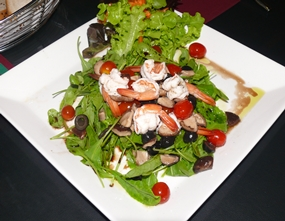Rocket salad with prawn.