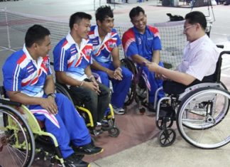 Returning Paralympians share their experiences with Suporntum Mongkolsawadi, director of the Father Ray Foundation.