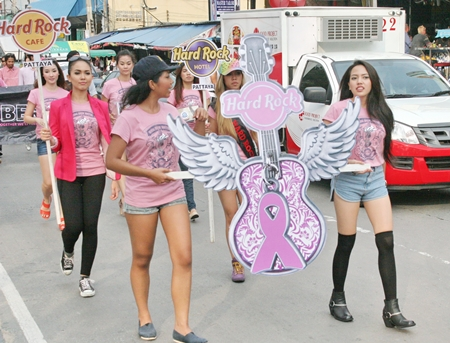 Ms. Hard Rock 2011-2012 contestants, including the winner (partially hidden behind the pink guitar) are participating in the event this year.