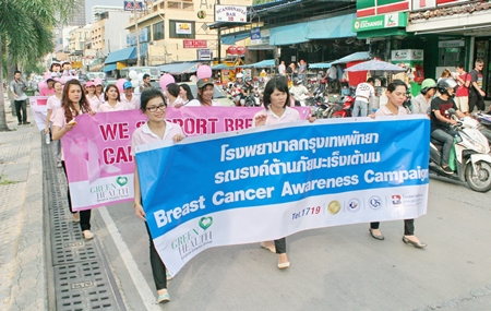 Sponsors of the campaign, Bangkok Hospital Pattaya sends out a large contingent to help spread the word.