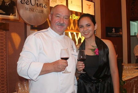 Executive Chef 'Uncle' Walter Thenisch keeps a watchful eye over the charming Victoria Arnold, PR & Marketing Communications Manager, Royal Cliff Hotels Group.