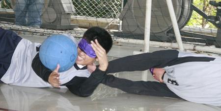 Goalball. A popular sport amongst the blind students.