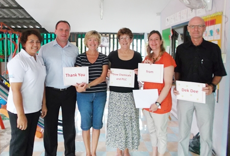 (L to R) Kindergarten manager Porn, Thomas Serbe from Dow Chemicals, Gillian Thom (sister of Dek Dee Founder Susan Thom), PILC president Ann Winfield, PILC welfare chair Helle Rantsen, and Hans Schoof-Hetroys from Dow Chemicals.