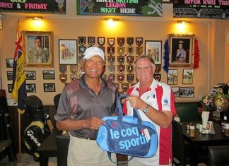 The Scribe, right, presents the MBMG Group Golfer of the Month award to Joel Flor.