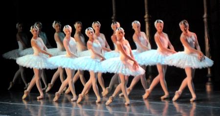 Ballerinas perform Swan Lake at the Cultural Center in Bangkok.